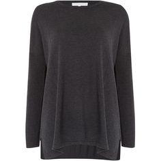 Gray & Willow Zanu Side Split Jumper ($105) ❤ liked on Polyvore featuring tops, sweaters, dark grey, women, jumper top, oversized tops, knit jumper sweater, oversized chunky knit sweater and oversized sweaters