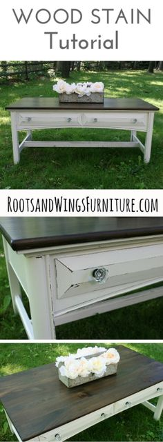 Welcome back to the Summer Tutorial Series! I hope you all are enjoying  this as much as I am!  If you missed the last few weeks, here's what we covered:  Week 1: Java Gel Stain Tutorial  Week 2: Painting Laminate Furniture  Week 3: Color Washing Tutorial  Today's post is all about how I refinish and stain wood. There's a little  more work involved in this one, but the results are well worth it!  Here's where this piece started:  With a little love and sandpaper, here is the finished…
