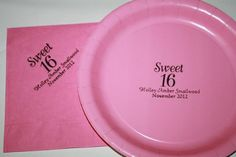 personalized sweet 16 magenta and black cake plates and napkins by