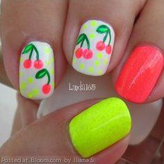 Cherry nail art- so cute! Get Nails, Love Nails, How To Do Nails, Pretty Nails, Diy Neon Nails, Neon Nail Art, Garra, Cherry Nail Art, Nailart