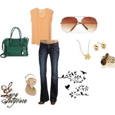 Peaches 'n' teal, created by jjay0828 on Polyvore