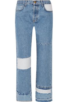 Current/Elliott - The Diy Patchwork High-rise Straight-leg Jeans - Blue