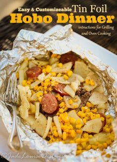 Easy Hobo Dinner, Tin Foil Dinner perfect for the whole family. Easy Hobo Dinner, Tin Foil Dinner perfect for the whole family. Easy to customize to each person's taste buds and very little clean up! Tin Foil Dinners, Foil Packet Dinners, Foil Pack Meals, Oven Foil Packets, Grilling Recipes, Cooking Recipes, Hobo Dinners, Hobo Dinner Recipes, Campfire Food