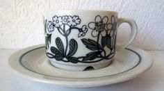 Arabia Finland Flora Vintage Coffee Cup and Saucer Good Condition | eBay