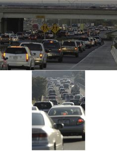 Congested highways in Texas which demonstrate the need for added transportation infrastructure and transit options. Commuter traffic at twilight on Interstate 35 (top image by Kevin Stillman/TxDOT) and congestion on Loop 1 (also known as Mopac) in Austin, Texas (bottom image by J. Griffis Smith/TxDOT).
