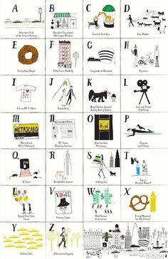 NYC Loves ABCs Print    This is a must have for any NYC kid (or those with big city aspirations!). Each letter represents a typical    NYC experience with my favorites including G is for Guggenheim, E is for everything bagel and S is for Schlepping!       Poster measures 12x18 and does not come framed.     .