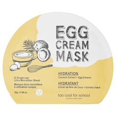 Shop Too Cool For School's Egg Cream Sheet Mask at Sephora. The face mask is enriched with egg extract to transform rough skin smooth into radiant skin.