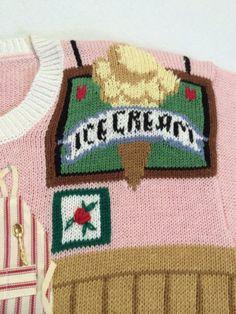 NWT-Susan-Bristol-M-Ice-Cream-Parlor-Sweater-Spoons-Dalmatian-1995-Rare