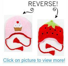 Strawberry/Cupcake Reversible Kid's Winter Hat Small