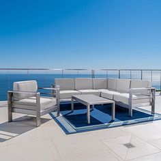 Noble House Cape Coral Silver Aluminum Patio Sectional Seating Set with Canvas Spa Sunbrella Cushions 26881 - The Home Depot Outdoor Sofa Sets, Outdoor Seating, Outdoor Living, Outdoor Furniture Sets, Patio Sets, Sunbrella Fabric, Seat Cushions, Aluminum Patio, Hair Makeup