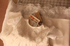 White Ivory, Chantilly Lace, Raw & Chiffon Silk, Custom Made & Handmade, Christening Baptismal Gown for a Christian Baby Baptism. Marusya- Ukrainian Seamstress