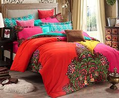 Luk Oil Home Textile Modern Retro Design Upgrade Brushed 100% Cotton 4 Piece Bedding Set Fashion Colorful Boho Style Duvet Covers Elegant Bohemian Flounce Design Bed Sheets King Size, http://www.amazon.co.uk/dp/B00SBHDQB4/ref=cm_sw_r_pi_awdl_E35uvb0RCJV32