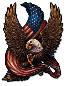 United States Bald Eagle with Flag, America Love It or Leave It, Patriotic Art on metal sign, vintage style garage art wall decor American Flag Decal, American Flag Eagle, American Pride, I Love America, God Bless America, The Eagles, Bald Eagles, Aigle Animal, Eagle Drawing