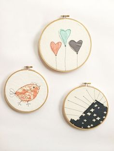 DIY Hoop Embroidery Art Set of 3