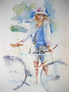 No one under Art, photography, music, and literature. Art Watercolor, Watercolor Pictures, Watercolor Portraits, Watercolor Illustration, Painting People, Figure Painting, Painting & Drawing, Bicycle Painting, Bicycle Art