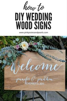 Create your own wedding wood sign with a board and one of these gorgeous decals starting at only $17.99! www.pinkposiesandpearls.com www.etsy.com/shop/pinkposiesandpearls #wedding #weddingsigns #weddinginspiration #rusticwedding #weddingdecals #weddingideas