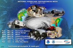 Hurricane preparedness week. If you haven't prepped for hurricanes, and you are in the possible hurricane areas, you should take time to do it during May 27 through June 2, 2012