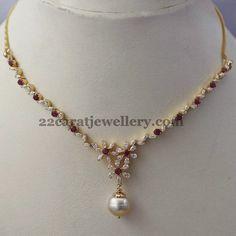Ruby and Diamond Necklace - Indian Jewellery Designs Ruby Jewelry, Wedding Jewelry, Fine Jewelry, Diamond Necklace Set, Gold Necklace, Long Pearl Necklaces, Pretty Necklaces, Gold Jewelry Simple, Gold Jewellery Design