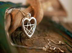 Heart Pentacle ~ Love Pentagram ~ Sterling Silver Pendant