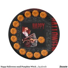 Happy Halloween small Pumpkins Witch Paper plate