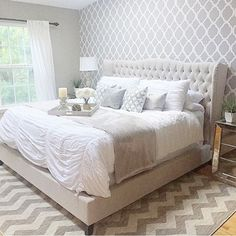 A DIY stenciled bedroom accent wall using the Rabat Allover Stencil from Cutting Edge Stencils. http://www.cuttingedgestencils.com/moroccan-stencil-pattern-3.html