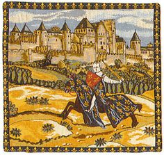 "18"" Medieval KNIGHT on Horse with Castle Tapestry Cushion Cover"