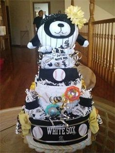 Gaby's Designs - Chicago Collection    Chicago White Sox diaper cake