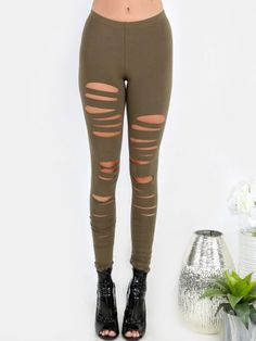 Olive Green Ripped Leggings