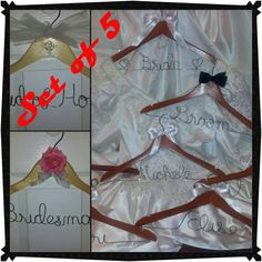 5 bridal hangers  -  wedding hangers  -  bridesmaid hangoer  -  bridal favors wtih your choice of word or name and satin ribbon bow