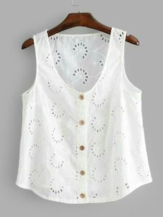 SHEIN offers Eyelet Embroidered Button Front Top & more to fit your fashionable needs.To find out about the [good_name] at SHEIN, part of our latest Tank Tops & Camis ready to shop online today! Diy Clothes, Clothes For Women, Sewing Blouses, Diy Dress, Short, Tank Tops, Womens Fashion, Outfits, Dresses