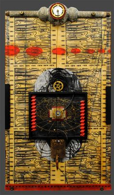 Tempus encaustic medium, oil pigment, images, paper, and found objects on wood panel 30 x 17.75 x 4 Available from Artist