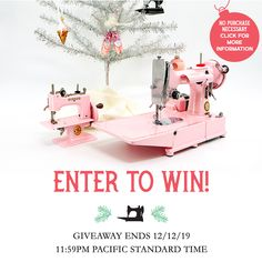 Win a Singer Featherweight 222 Free-Arm & Singer Sewhandy 20 Child's Machine ~ Custom Painted in Pearly Pink!