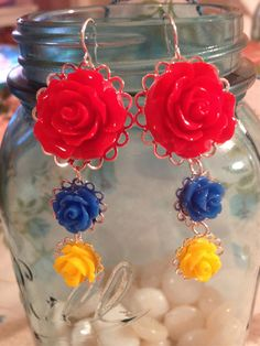 "The ""Princess"" Earrings in Red, Blue, and Yellow"