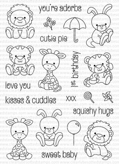 Cheap clear stamps, Buy Quality transparent clear silicone stamp directly from China clear silicone stamp Suppliers: Cartoon Animals Transparent Clear Silicone Stamp/Seal for DIY scrapbooking/photo album Decorative clear stamp sheets Colouring Pages, Coloring Books, Desenho Kids, Digi Stamps, Clear Stamps, Cute Drawings, Doodle Art, Plushies, Baby Quilts