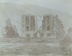 Somerset & Wood Fine Art | Churches in Art | Harriet Sneyd, Llanthony Priory, Monmouth - Original 1842 watercolour painting £26 #FreeShipping #OriginalArt #ArtForSale #OwnArt