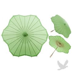 "32"" Grass Green Scalloped Shaped Paper Parasol, wedding"