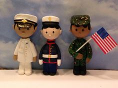 polymer clay military man with flag,Army,cake topper,ornaments,Christmas decor,African American male, by NaomisSweetStuff on Etsy