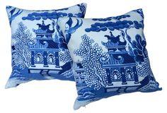 Blue Willow Chinoiserie Pillows, Pair OKL $425 !