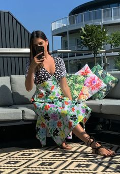 NEON ROSE V Neck Mixed Spot & Floral Print Midi Tea Dress in Black, White & Pink– One Nation Clothing Floral Prints, Neon, V Neck, Weddings, Black And White, Sewing, Rose, Clothing, Sleeves