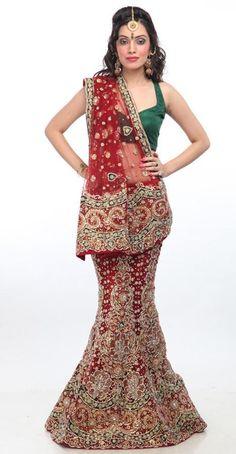 $733.22 Maroon Net,Silk Bridal Lehenga 13586