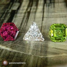 These unique stones are a cut above the rest! #getstoned #rockgasm #stoneporn repost from @gemstonealchemy Some recently finished gems #Rubellite #Danburite #Peridot