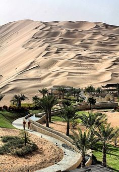 Liwa Oasis, Abu Dhabi, United Arab Emirates -This is the pretty side of Abu Dhabi, the side where if you follow that road it will probably lead you to a gold bar ATM. Just insert money into the slot and it will distribute the appropriately sized gold bar.