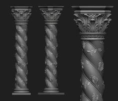 Ornamental Column | 3D Print Model 3ds Max, 3d Animation, Table Furniture, Cnc, 3d Printing, Sculptures, Carving, Statue, Models