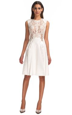 White Satin & Lace Cocktail Dress by Nina Ricci for Preorder on Moda Operandi White Satin, White Lace, White Dress, White Cocktail Dress, Cocktail Dresses, Fashion Beauty, Fashion Looks, Lace Bodice, Cool Outfits
