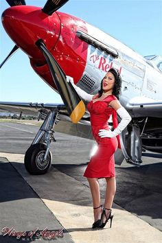 Wings of Angels, PhotoShoot - World War II Aircraft. Brunette, Model, Vintage Hair and Makeup, Pinup, Photography.  Photographer: M A L A K Photography.com, Model: Miss Jenn Rox, Hair Stylist & Makeup Artist: Laura Locks Beauty. Will Travel in the SoCal/Los Angeles Area & Surrounding counties. For prices & info visit: www.lauralocksbeauty.com
