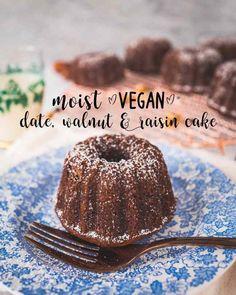 Moist date, walnut & raisin cake (vegan)