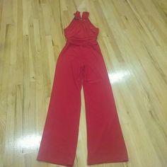 Nine West Red Pantsuit Gorgeous Red Pant Suit.  Beautiful rouched design in the waist.  Halter Design.  Very beautiful and elegant. Nine West Dresses Maxi