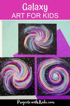 This chalk pastel galaxy art project is out of this world! Kids will love using easy chalk pastel techniques to create this stunning galaxy craft. #projectswithkids #kidsart #chalkpastels #kidscrafts