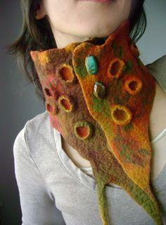 PREHISTORIC Hand felted asymmetrical Avant-garde art scarf /
