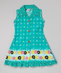 Love this Turquoise Floral Button-Up Dress - Infant, Toddler & Girls on #zulily! #zulilyfinds